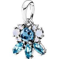 Charm Pendente De Flor- Prata & Azul- Pandorapandora