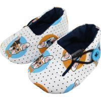 Sapatinho Tatibella Baby Buldog Branco/Azul