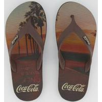 Chinelo Coca Cola Long Beach Masculino - Masculino-Marrom