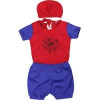 Fantasia De Bebê Baby Aranha Vermelho Com Gorro