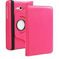 "Capa Giratória Inclinável Para Tablet Samsung Galaxy Tab3 7.0"" Sm-T110 T111 T113 T116 + Película Pet Rosa Escuro"