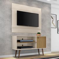 Rack Com Painel Para Tv Até 42 Polegadas Mumbai Bege/Marrom - Pnr Móveis