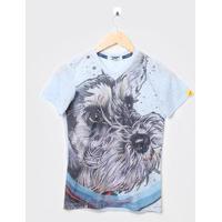 Camiseta Infantil Cachorro Azul - Luluzinha. - 4