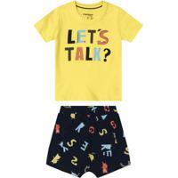 Conjunto Camiseta Com Shorts Baby Amarelo