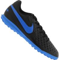 Chuteira Society Nike Tiempo Legend 8 Club Tf - Adulto - Preto/Azul
