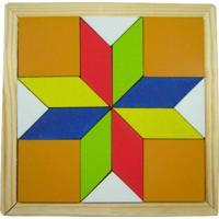 Mosaico Kits E Gifts Quebra Cabeça Colorido - Estrela - Madeira Amarelo