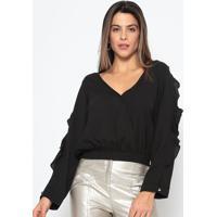 Blusa Lisa Com Babados & Transpasse - Preta - Chocolchocoleite