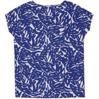 Vestido Abstrato Com Bolsos- Branco & Azul- Lacostelacoste