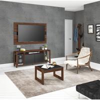 Rack Com Painel Para Tv Até 55 Polegadas Calmon Nogal E Preto 136 Cm