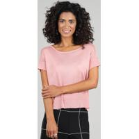 Blusa Feminina Ampla Manga Curta Decote Redondo Rosê