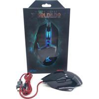 Mouse Gamer Soldado Usb 3200Dpi Iluminação Led Em 7 Cores Textura Emborrachada Infokit Gm-601 Preto Exbom