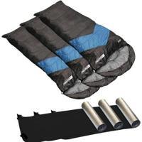 Kit 3X Sacos De Dormir Viper Sarcófago 5ºc + 3X Isolantes Térmicos Nautika - Unissex
