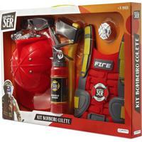 Brincando De Ser Kit Bombeiro Colete Indicado Para + 3 Anos Vermelho Multikids Br963