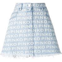 Pinko Saia Jeans Com Barra Desfiada - Azul