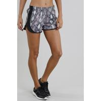 Short Feminino Running Esportivo Ace Estampado Animal Print Kaki