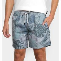 Shorts Jab Estampado Urban Tropical Masculino - Masculino-Off White