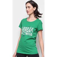 Camiseta Palmeiras Graphic Puma Feminina - Feminino-Verde+Branco