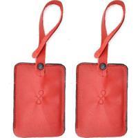 Kit 2 Tag De Mala Em Couro Hendy Bag Feminino - Feminino-Vermelho Escuro
