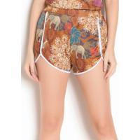 Shorts De Cintura Alta Étnico Com Friso