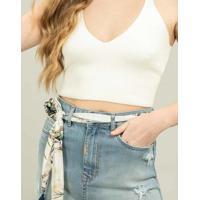 Saia Jeans Com Cinto Jeans - Lez A Lez