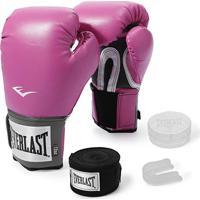 Kit Luva De Boxe Everlast Training 10 Oz + Bandagem + Protetor Bucal - Unissex