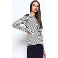 Blusa Listrada Com Bordado- Azul Marinho & Branca - ÊNfase