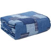 Kit De 01 Colcha Queen Com 02 Porta Travesseiro Santista Azul