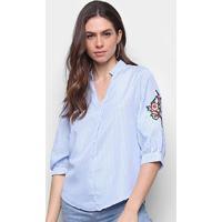 Camisa Lily Fashion Listrada Bordada Manga Longa Feminina - Feminino-Azul Claro