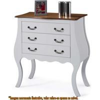 Comoda Elegance 3 Gavetas Branco Com Imbuia 90Cm (Larg) - 58860 - Sun House