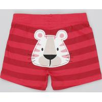 Short Infantil Tigre Listrado Vermelho
