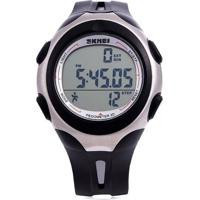 Relógio Pedômetro Skmei Digital 1107 Preto E Prata