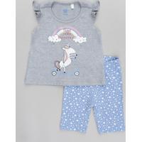 Conjunto Infantil De Regata Com Babado Cinza Mescla + Bermuda Estampada De Estrelas Azul Claro