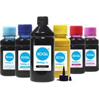 Kit 6 Tintas Para Epson Bulk Ink L800 Black 500Ml Coloridas 100Ml Sublimatica Koga