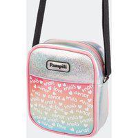 Bolsa Infantil Tiracolo Customizável Meu Jeito Detalhe Texturizado Holográfica Prata