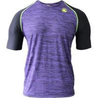 Camisa Esporte Legal Uv45+ Raglan Masculina - Masculino-Lilás+Preto