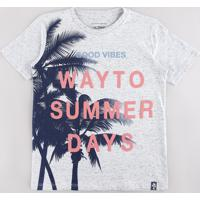 "Camiseta Infantil ""Way To Summer Days"" Coqueiros Manga Curta Cinza Mescla"