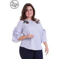 Blusa Jes Plus Listrada Com Amarração E Aplicação Azul E Branco
