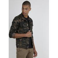 Jaqueta De Sarja Estampada Camuflada Masculina Com Bolsos Marrom