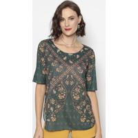 Blusa Com Recortes- Verde & Bege- Cotton Colors Extrcotton Colors Extra