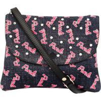 Bolsa Infantil Princesa Pink Estampa Jeans Com Strass - Feminino-Preto