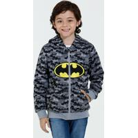 Blusa Infantil Moletom Bordado Batman Liga Da Justiça