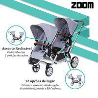 Carrinho De Bebê Para Gêmeos Zoom Graphite Grey (6 Meses A 30Kg) Abc Design