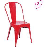 Jogo De Cadeiras De Jantar Retrã´- Vermelho- 2Pã§Sor Design
