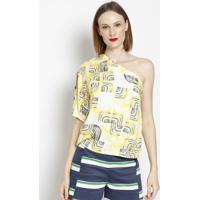 Blusa Ombro Único Com Botões - Amarela & Preta - Ahaaha