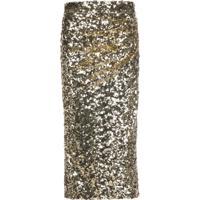 Dolce & Gabbana Saia Lápis Com Paetês - Dourado