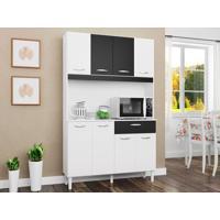 Cozinha Com 8 Portas Cássia Branco/Preto - Lc Móveis