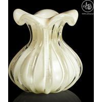 Vaso Texturizado- Incolor & Off White- 18Xø16Cm-Cristais São Marcos