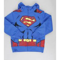 Blusão Infantil Super Homem Em Moletom Com Capuz Com Máscara Azul Royal