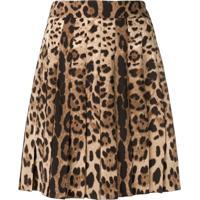 Dolce & Gabbana Saia Com Estampa Leopardo - Marrom