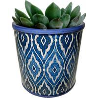 Cachepot Urban Home De Cerâmica Azul Marroquino Pequeno N